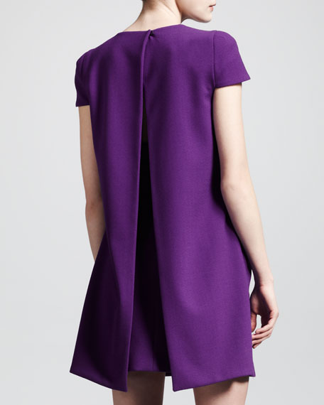 Wool Crepe Draped-Back Dress