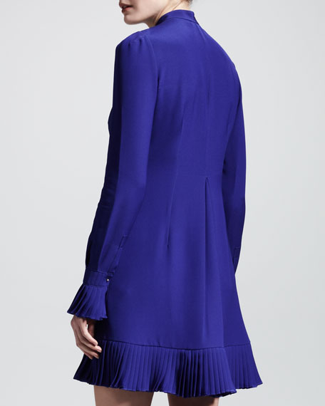 Pleated Cady Shirtdress