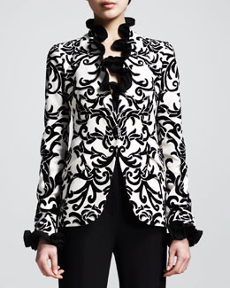 Alexander McQueen Printed One-Button Jacket