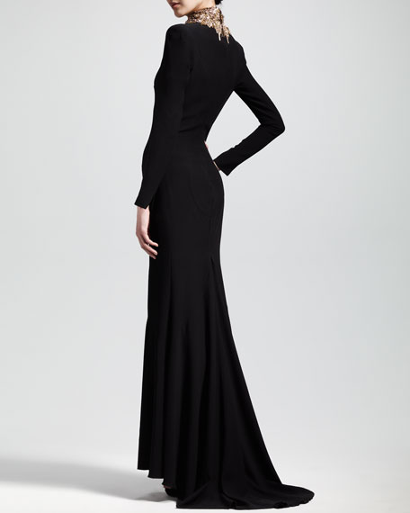 Embroidered Long-Sleeve Crepe Gown