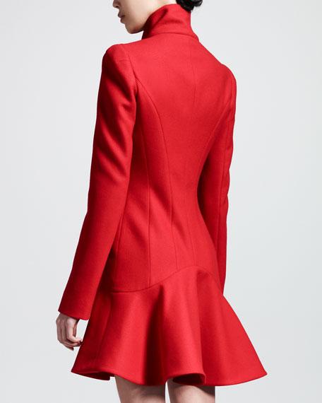 Crepe Wool Flounce-Hem Dress Coat