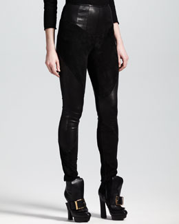 Alexander McQueen Skinny Suede/Leather Pants