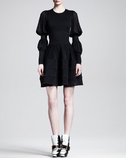 Alexander McQueen Double Puff-Sleeve Circle Dress