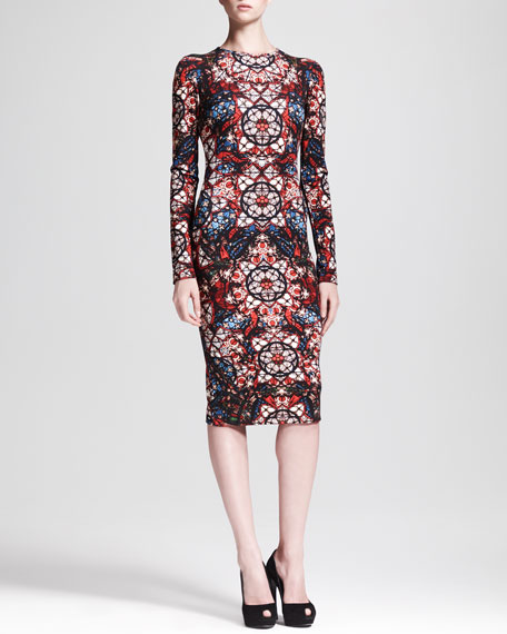 Long-Sleeve Stained Glass Jersey Dress