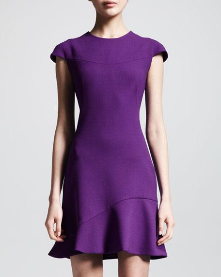 Wool Crepe Flounce-Hem Dress