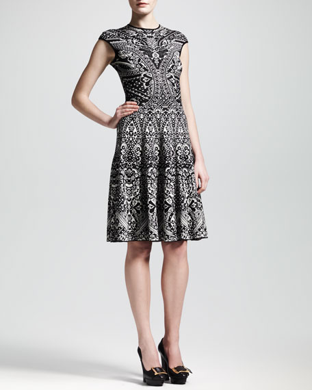 Lace Jacquard Short-Sleeve Circle Dress