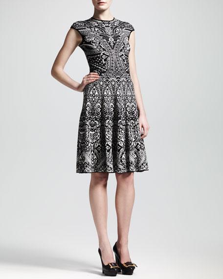 Alexander McQueen Lace Jacquard Short-Sleeve Circle Dress