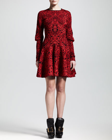 Puckered Jacquard Mutton-Sleeve Dress