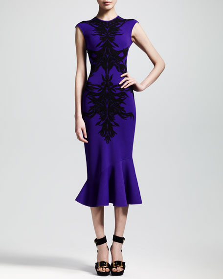 Spine Intarsia-Knit Flounce Dress, Purple/Black