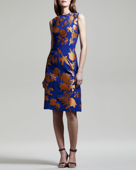 Linford Floral Crepe-Satin Sheath Dress