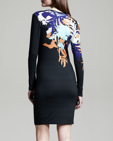 Fitted Floral-Print Jersey Dress