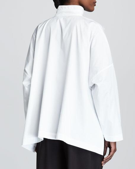 Double-Collar Cotton Poplin Blouse, White