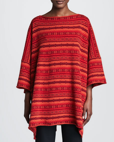 Fair Isle Cashmere Shirt, Red/Multicolor