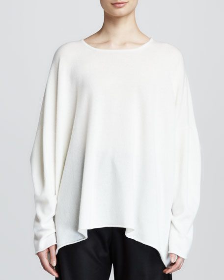 Cashmere A-Line Sweater, White