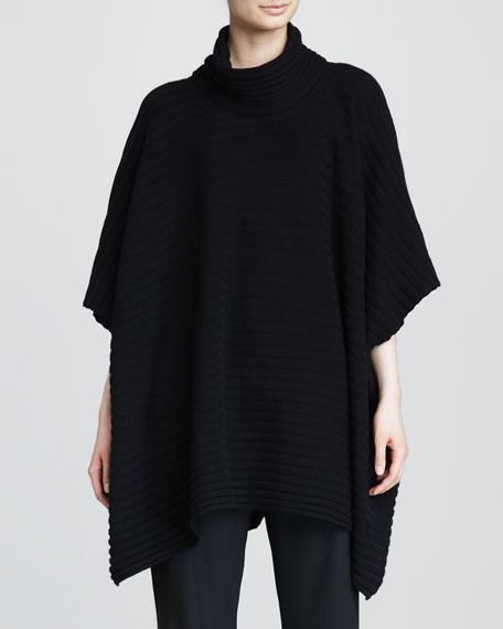 Cashmere Three-Quarter-Sleeve Cowl Poncho, Black