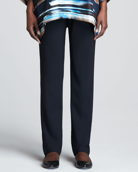 Narrow Stretch Wool Trousers, Navy
