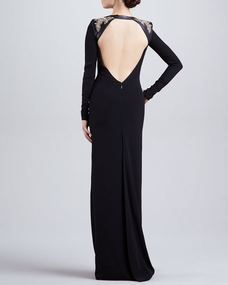 Embellished Shoulder Long-Sleeve Gown, Black