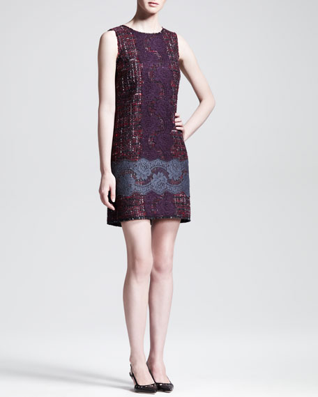 Lace-Embroidered Tweed Shift Dress