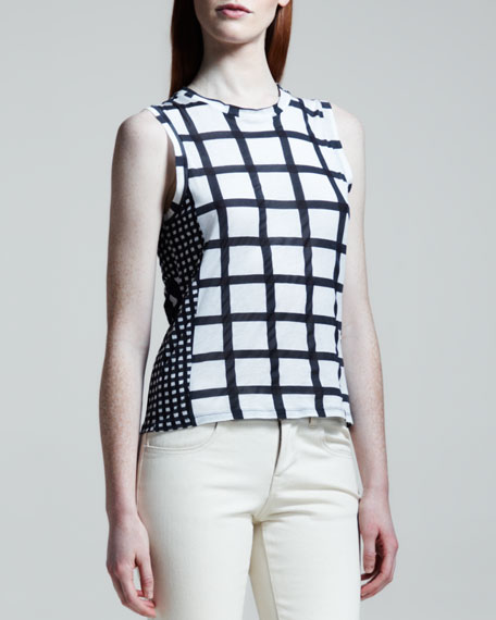 Sleeveless Mixed-Gingham Top