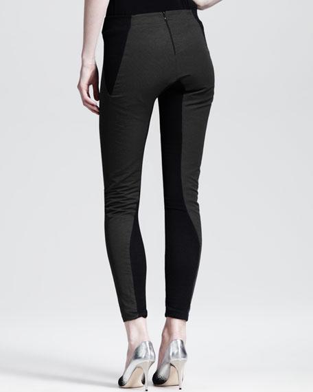 Bicolor Seamed Skinny Pants