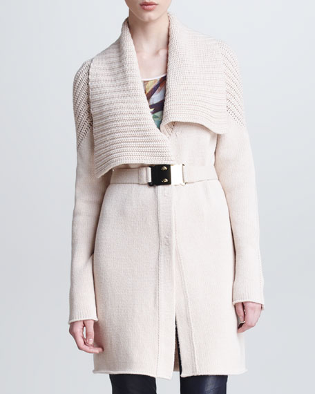 Belted Wool-Silk Knit Cardigan