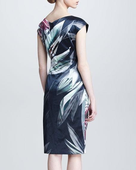 Amaryllis-Print Cap-Sleeve Dress