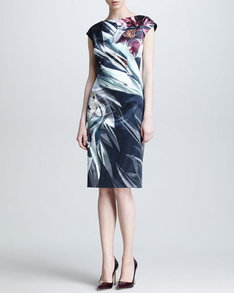 Amaryllis-Print Cap-Sleeve Dress