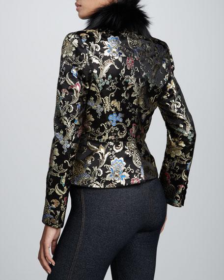 Brocade Jacket with Fox Fur Collar