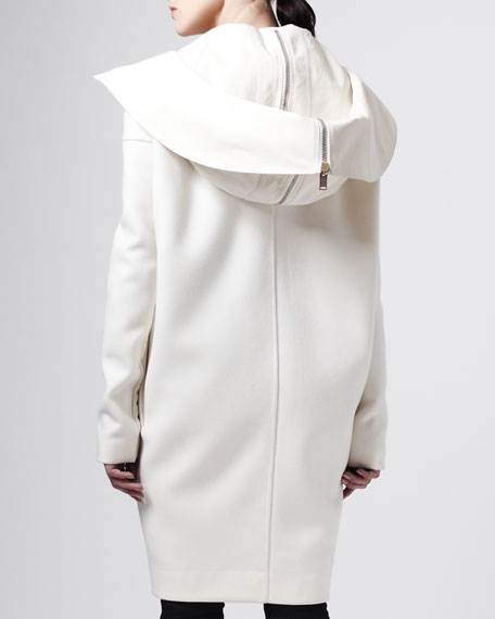 Dagger Hooded Parka Coat, Milk