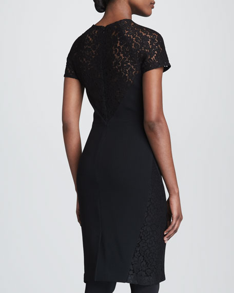 Crepe Sheath with Lace Trim