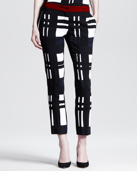 Large Plaid Cropped Pants
