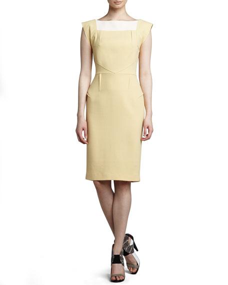 Watson Pintucked Dress, Sand/Cream
