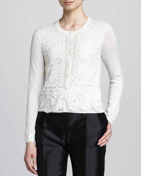 Beaded Lace-Overlay Knit Cardigan, White
