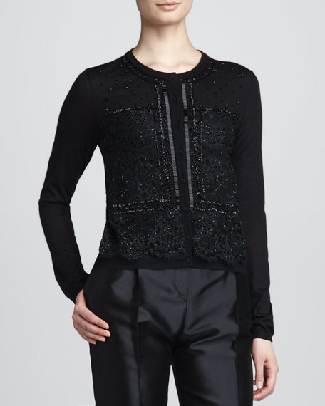 Beaded Lace-Overlay Knit Cardigan, Black