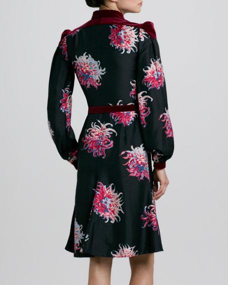 Silk Dahlia-Print Dress