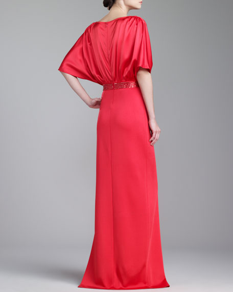 Sateen Milano Knit Gown, Grenadine