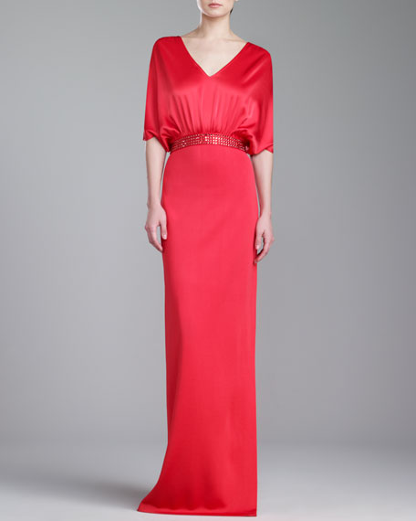 St. John Collection Sateen Milano Knit Gown, Grenadine