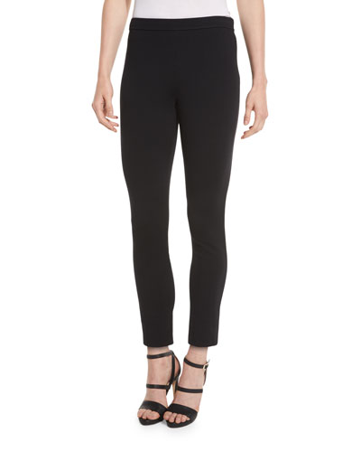 Stretch Milano Knit Slim Ankle Alexa Pants, Caviar