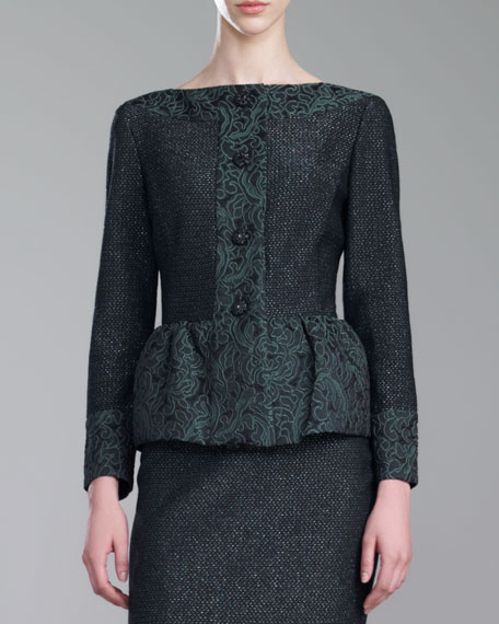 St. John Collection Brocade-Trim Shimmer Tweed Jacket, Green