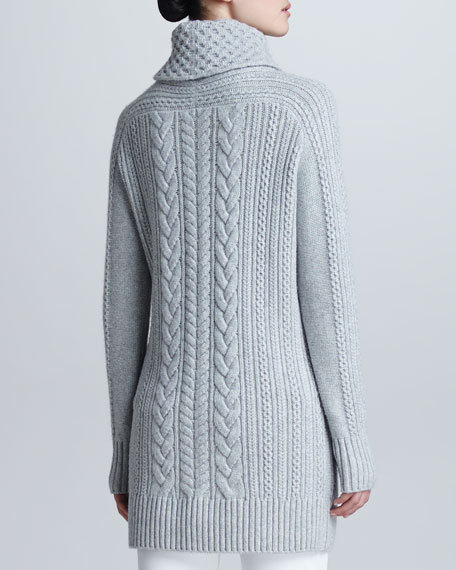 Cable-Knit Cashmere Turtleneck Tunic Sweater