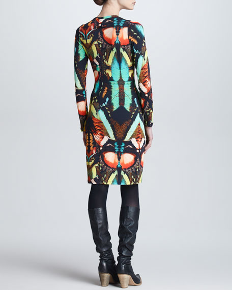 Butterfly-Print Long-Sleeve Dress