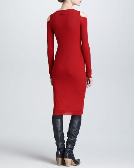 Cold-Shoulder Long-Sleeve Dress, Red