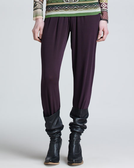 Pants with Crossover Knit Waistband, Plum