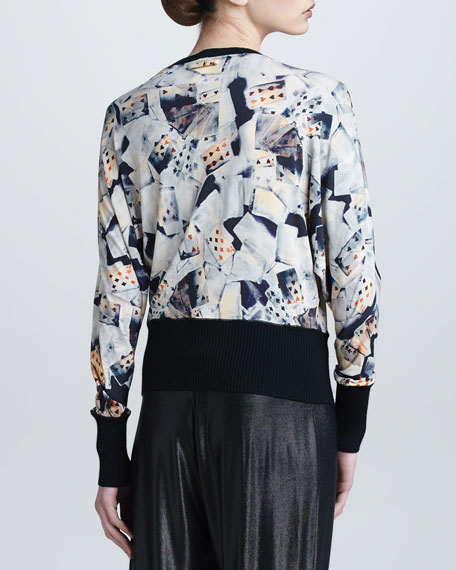 Playing Card-Print Long-Sleeve Printed Top