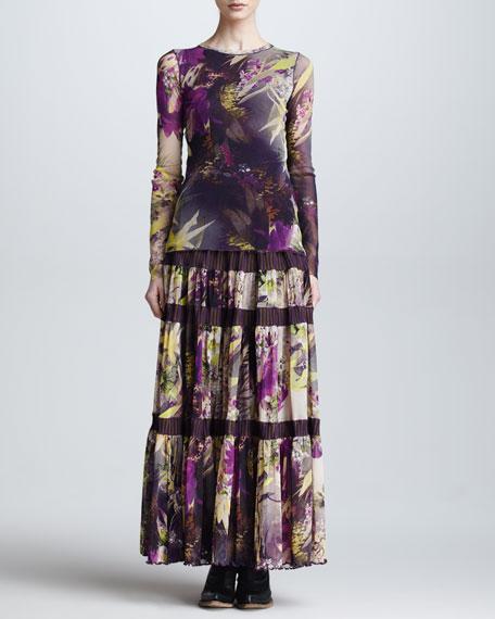 Winter Garden Tulle Tiered Maxi Skirt