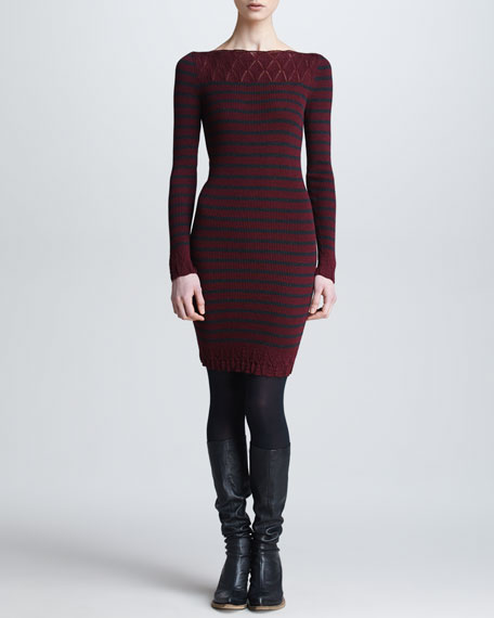 Long-Sleeve Striped Wool Dress, Bordeaux/Charcoal