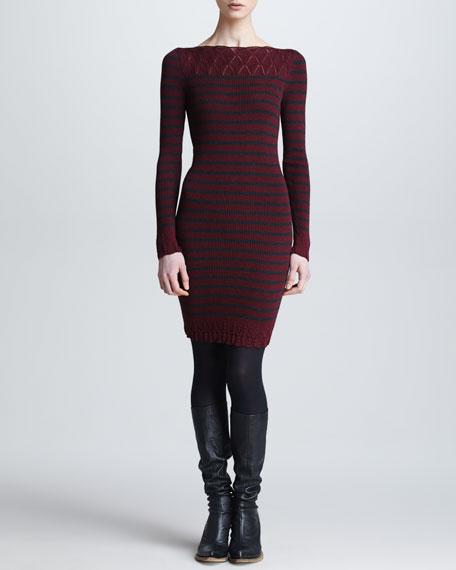 Long-Sleeve Striped Wool Dress, Bordeaux/Charcoal