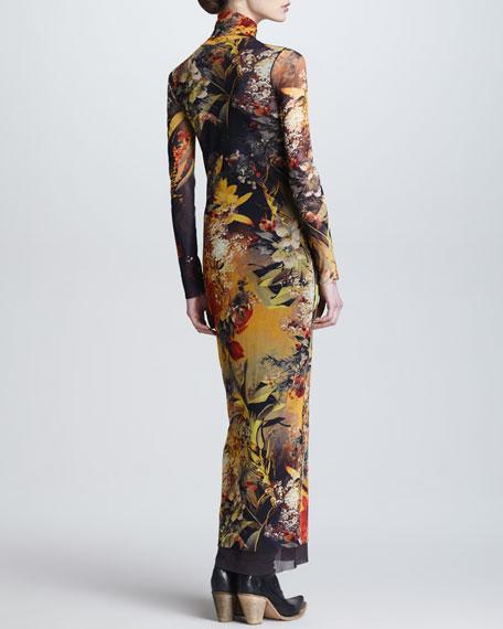 Winter Garden-Print Turtleneck Maxi Dress