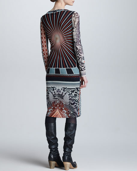 Patchwork-Print Long-Sleeve Dress