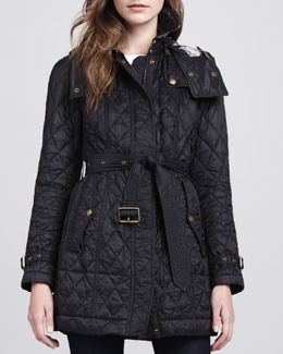 Burberry Brit Hooded Quilted Jacket, Black